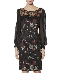 Mallory black chiffon sleeve dress