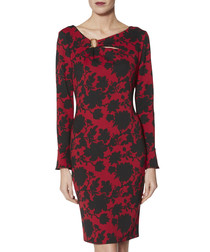 Rashida red & black ring trim dress