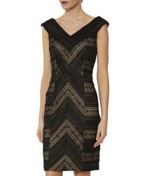 Flossie black panelled lace dress