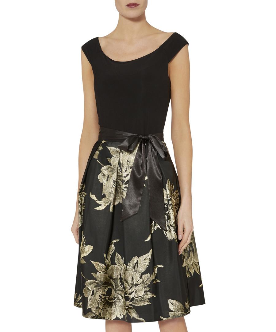 Elza black & golden boat neck dress Sale - gina bacconi