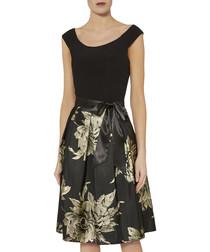 Elza black & golden boat neck dress