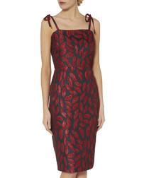 Alissa red jacquard tie-strap dress