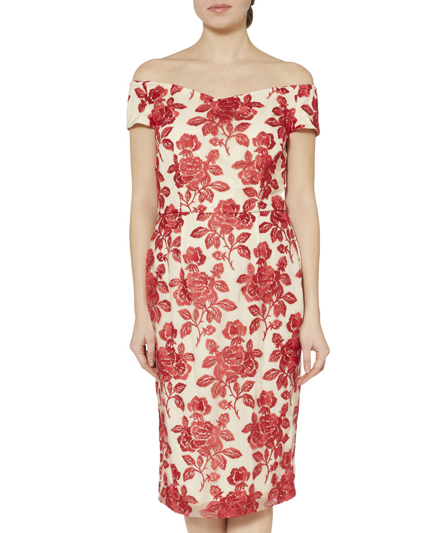 Jazelle crimson embroidered floral dress Sale - gina bacconi