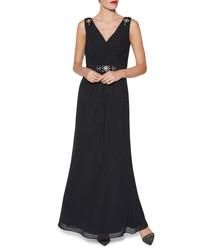 Leyton black beaded maxi dress
