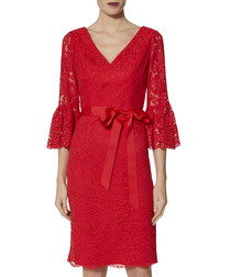 Andrea red scallop lace dress