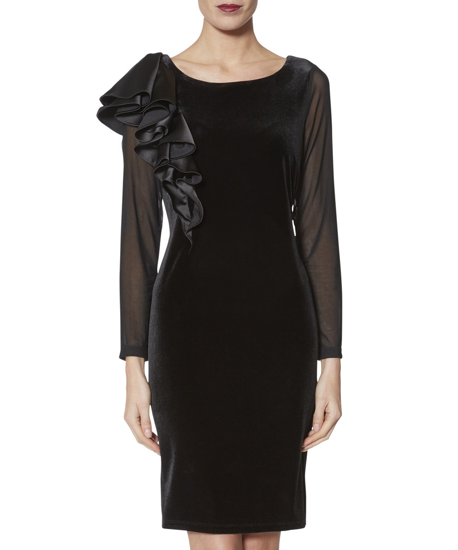 Karla black satin & velvet ruffle dress Sale - gina bacconi