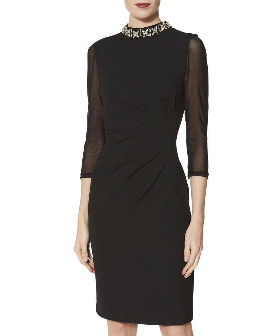 Shauna black beaded collar dress Sale - gina bacconi