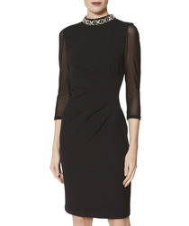 Shauna black beaded collar dress