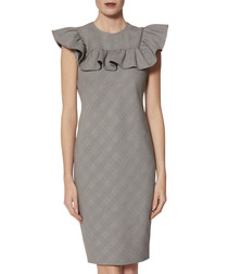Lorella greyscale check ruffle dress