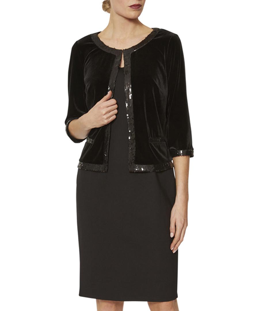 Aria black velvet sequin trim jacket Sale - gina bacconi
