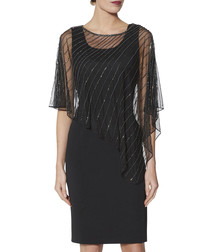 Keeley black beaded cape dress