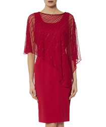 Keeley rose red beaded cape dress