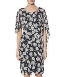 Marisol grey chiffon print cape dress