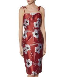 Kadie red tie-strap jacquard dress