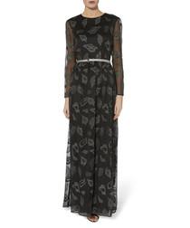Alicia black belted chiffon maxi dress