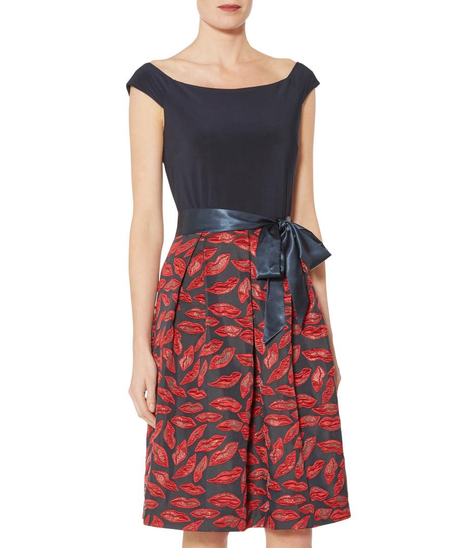Ayla navy & red lip print dress Sale - gina bacconi