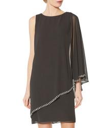 Ursa black beaded chiffon dress