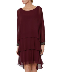 Briony wine chiffon drop waist dress