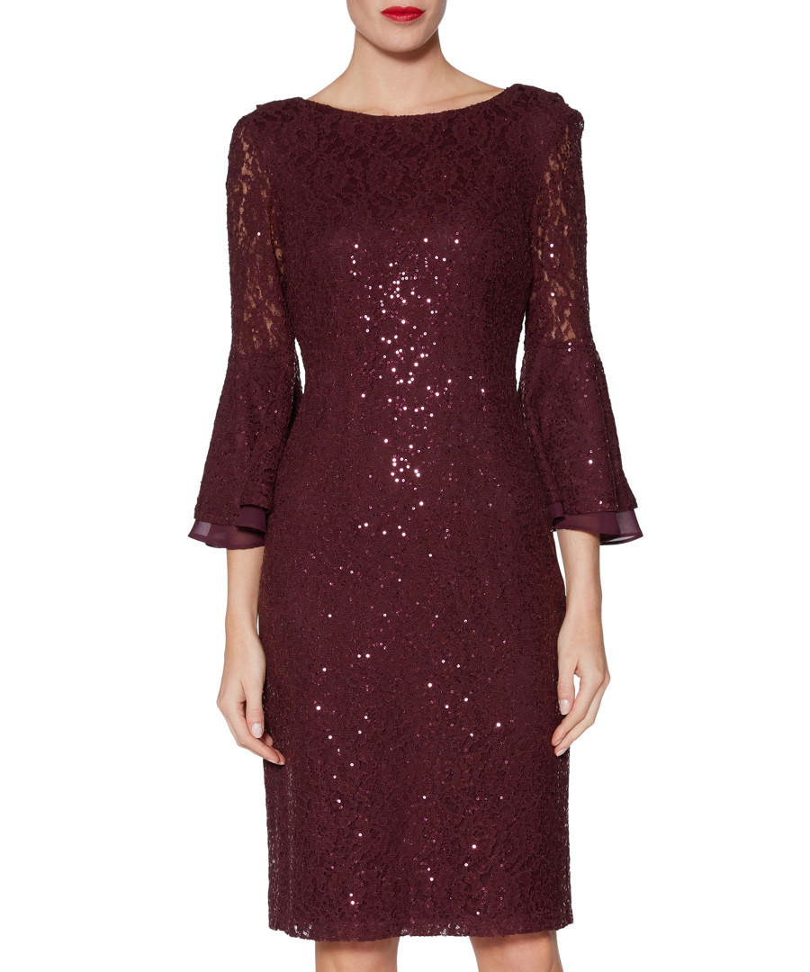 Amina wine sequin bell sleeve dress Sale - gina bacconi