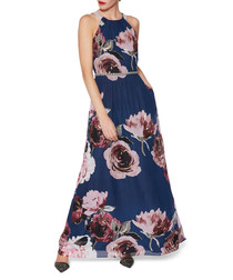 Avis navy floral chiffon maxi dress