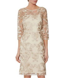Rekha golden lace mini dress