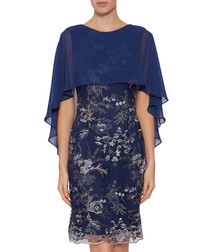 Jodelle navy chiffon cape dress