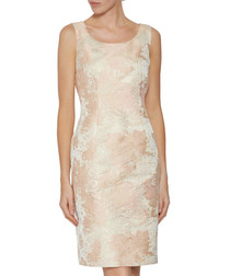 Lanisa peach jacquard dress