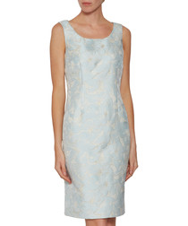 Tori sky blue jacquard dress