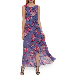 Ronna lilac floral chiffon dress