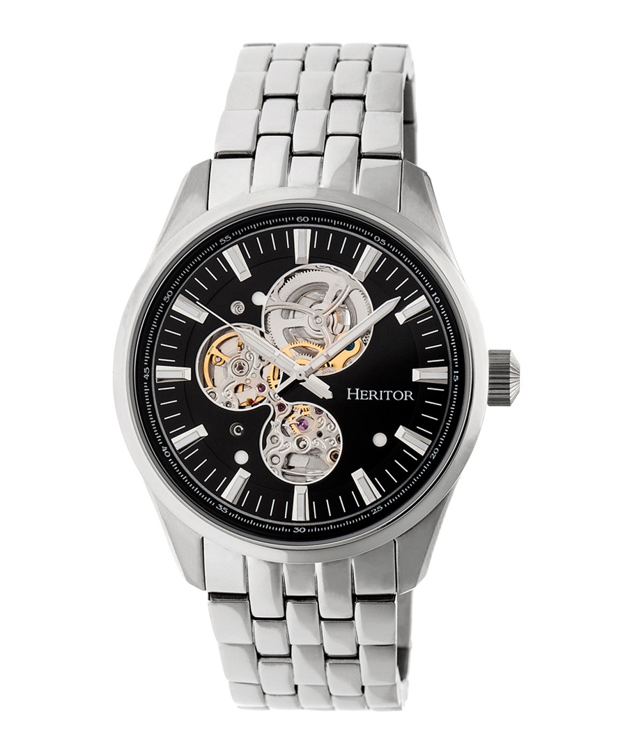 Stanley silver-tone steel watch Sale - heritor automatic