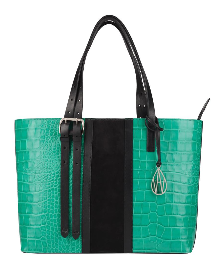 The Stripe Dean green & black shopper Sale - Amanda Wakeley