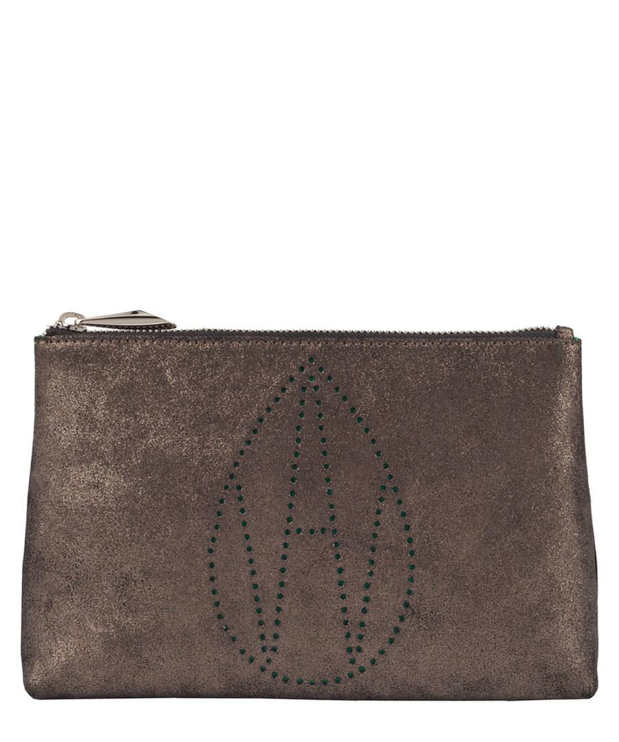 The Perforated Mercury brown clutch Sale - Amanda Wakeley