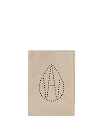 The Curtis beige leather passport cover