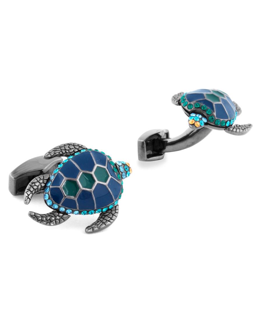 Black & blue Swarovski turtle cufflinks Sale - Tateossian London