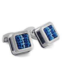 Silver & blue metal cufflinks