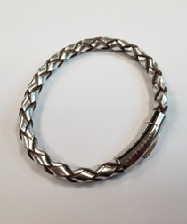 Silver & leather bracelet