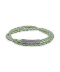 Green leather double-wrap bracelet