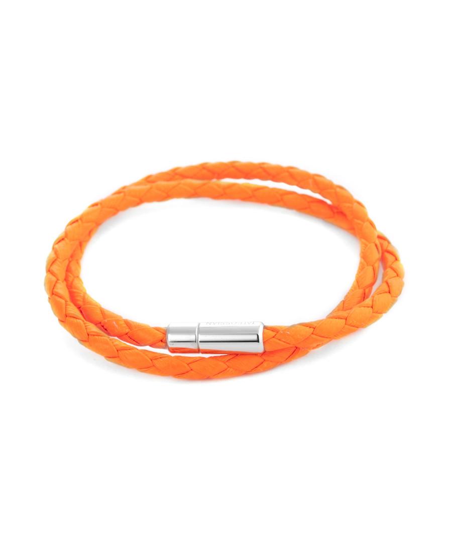 Orange leather double-wrap bracelet Sale - Tateossian London