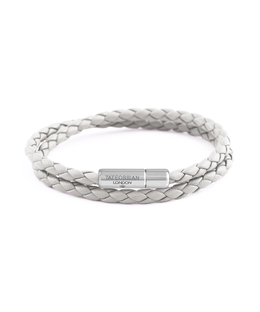 White leather & silver bracelet Sale - Tateossian London