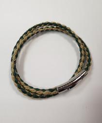 Brown leather double-wrap bracelet