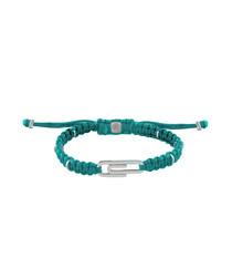 Blue nylon & silver paperclip bracelet