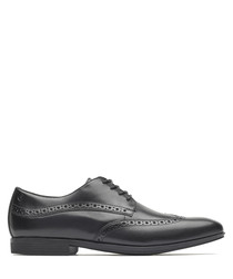 Wingtip black leather Oxford shoes