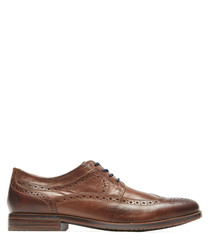 Sp3 Wingtip tan leather Oxford shoes