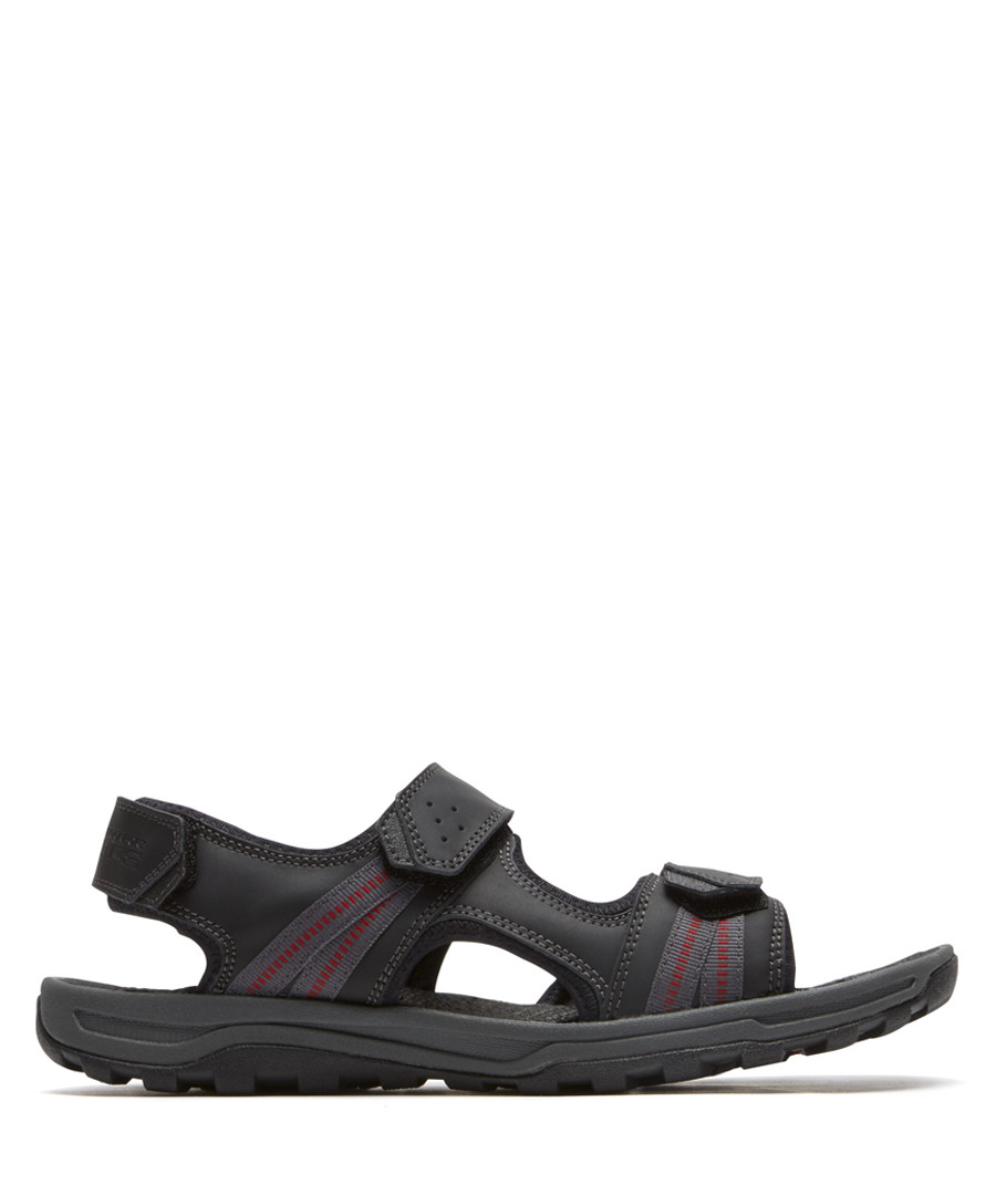 TT black leather 3 strap sandal Sale - rockport