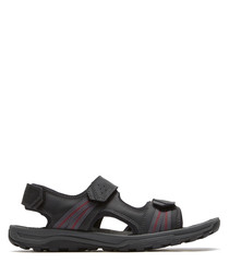 TT black leather 3 strap sandal