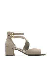 Alaina dove leather block heel sandals