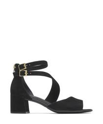 Alaina black leather block heel sandals