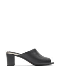 Autumn slide black leather heels