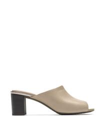 Autumn slide beige leather heels