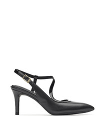 Ank black leather heels